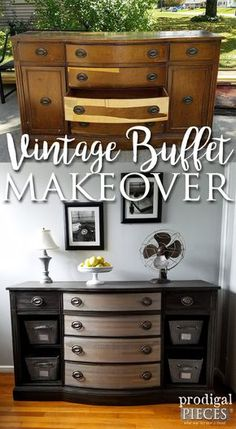 Worn Down Vintage Buffet Gets New Lease on Life by Teenage Boy | Furniture Makeover by Prodigal Pieces | www.prodigalpieces.com Restore, Restoration, Buffet, Antiques, Dresser, Storage, Cabinet, Furniture, Home Decor