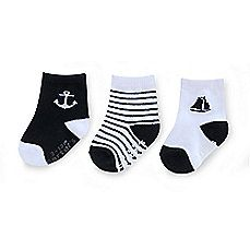 image of Carter's® 3-Pack Nautical Computer Socks in Black/White
