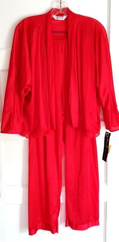Details about Gilead Red Nylon Lace Pajama Set Petite Open Front Top New  Old Stock VTG 8bfe0579c