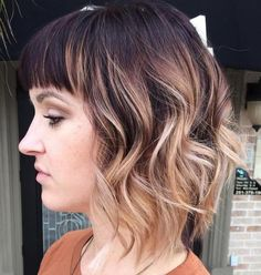Brown Bob With Baylayage Ombre Highlights