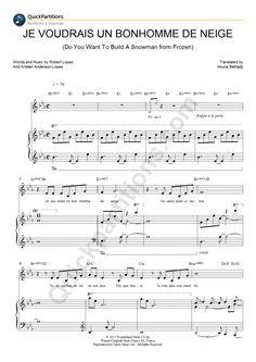 Partition Piano Je Voudrais Un Bonhomme De Neige -  La Reine Des Neiges