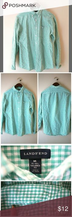 """Men's Lands' End Casual Button Down Shirt - Size M Lands' End Casual Button Down Shirt for Men Size Medium. Tailored Fit. Neck 15 - 15.5. Mint green and white checkered. 53% linen and 47% cotton. Great for summer. Comes with 2 extra buttons.  ℹ Chest 21"""", Shoulders 18"""", Sleeve 24"""", Length 25"""" ℹ Measured laying flat Lands' End Shirts Casual Button Down Shirts"""