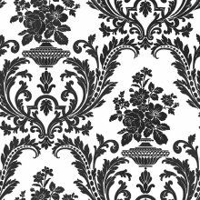 Contemporary Black White Damask Wallpaper