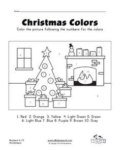 christmas color by numbers worksheet