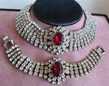 Juliana D & E 6 Row Rhinestone & Red Ovals Choker & Bracelet Demi Parure Set