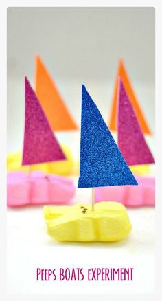 Peeps Boats Experiment along with questions to ask to make this into a playful learning activity - Kids Play Box