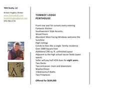 Tomboy Lodge Penthouse in Telluride, CO back of post card - details. Seller will pay half of the HOA dues for 8 years!