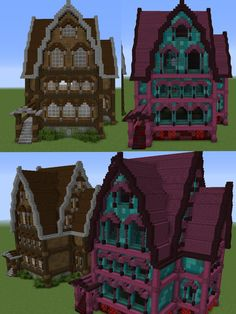 I built the same house as it would look in the overworld and in the nether - Minecraft Minecraft Building Guide, Minecraft Plans, Minecraft Room, Minecraft City, Minecraft Construction, Minecraft Tutorial, Minecraft Blueprints, Minecraft Earth, Minecraft Mansion