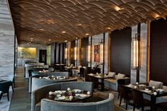Ceiling in the restaurant at Westin Ningbo, designed by HBA/Hirsch Bedner Associates