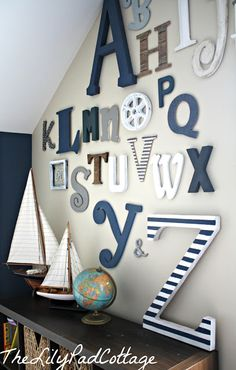Alphabet wall for playroom, nursery or kids room – paint and decoupage letters Baby Boy Rooms, Baby Boy Nurseries, Baby Room, Street Design, Casa Kids, Toy Rooms, Kids Rooms, Room Kids, Kid Spaces