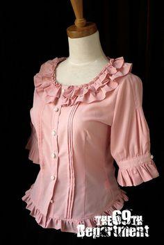 I'd wear size XXL (eep! Lolita Fashion, Look Fashion, Fashion Design, Blouse Patterns, Blouse Designs, Moda Lolita, Girls Dresses Sewing, Dress Outfits, Fashion Dresses