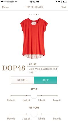Stylist - I love this shirt and would love to get it or something similar. Le Lis Jolla Mixed Material Knit Top Stitch Fix 2016
