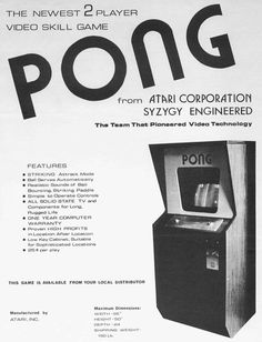 Atari Pong Video Game, I remember playing this at an arcade shortly after it came out. Vintage Video Games, Classic Video Games, Those Were The Days, The Good Old Days, Vintage Advertisements, Vintage Ads, Vintage Posters, Consoles, First Video Game