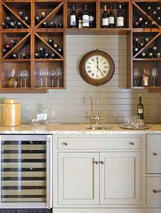 Check Out 35 Best Home Bar Design Ideas. Home bar designs offer great pleasure and a stylish way to entertain at home. Home bar designs add values to homes and beautify the game room and basement living spaces. Home Bar Designs, Wet Bars, Wine Storage, Wine Shelves, Storage Ideas, Glass Shelves, Bar Shelves, Storage Racks, Shelving Ideas