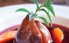 Poached figs are well suited to a red wine syrup in this pudding recipe