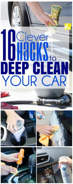 16 Seriously Clever Tricks to Deep Clean Your Car In the spring cleaning mood? Or maybe you just want some car cleaning tips using the products you already have at home. These tricks will show you how to detail your ride for cheap. Car Cleaning Hacks, Deep Cleaning Tips, Car Hacks, House Cleaning Tips, Diy Cleaning Products, Cleaning Solutions, Spring Cleaning, Cleaning Car Seats, Hacks Diy