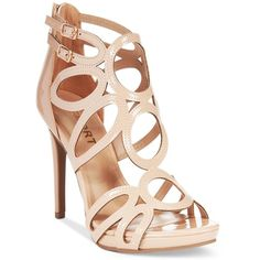 Report Triton Caged Dress Sandals ($42) ❤ liked on Polyvore featuring shoes, sandals, nude, evening wear shoes, caged platform sandals, platform sandals, report footwear and nude sandals