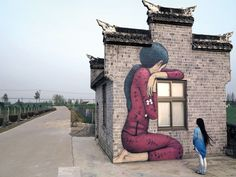 Murals of Faceless Figures by Seth Appear to Witness the Unseen