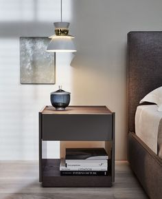 Wooden bedside table with drawers 5050 | Bedside table by MOLTENI & C.