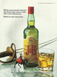 =-=J & B Blended Scotch Whisky Original 1987 Vintage Print Ad Color Photo