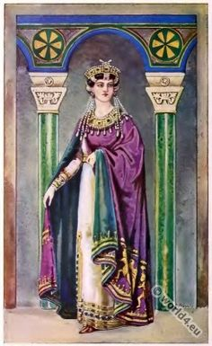 Byzantine Empire. 5th century. Empress Theodora.  She was one of the most influential and powerful of the Byzantine empresses. Some sources mention her as empress regnant with Justinian I as his co-regent.