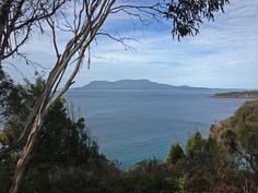 Views across Mercury Passage to Maria Island from Orford. Article and photo for Think Tasmania.