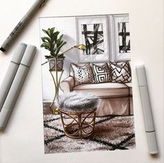 # Skizze # Design # Interieur # Marker # Design # Interieur - Hints for Women Interior Design Renderings, Drawing Interior, Interior Rendering, Interior Sketch, Croquis Architecture, Architecture Design, Interior Architecture Drawing, Portfolio Design, Sketch Design