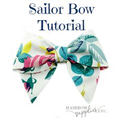 Sailor Hair Bow Tutorial – Hairbow Supplies, Etc. The sailor hair bow reminds me of sweet girls with their hair tied half back with the fabric bow in the back. Or a sweet prairie girl running in the meadows with long braids. This fabric bow tutori… Easy Hair Bows, Making Hair Bows, Girl Hair Bows, Girls Bows, Fabric Bow Tutorial, Hair Bow Tutorial, Flower Tutorial, Diy Tutorial, Hair Bow Supplies