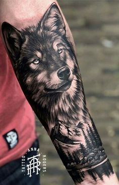 Wolf Tattoos: 50 Amazing Photos to Get Inspired – I Love Tattoos, – tattoo sleeve men Wolf Tattoo Forearm, Wolf Tattoo Sleeve, Nature Tattoo Sleeve, Cool Forearm Tattoos, Best Sleeve Tattoos, Wolf Tattoo Back, Tattoo Wolf, Wolf Tattoos Men, Animal Tattoos