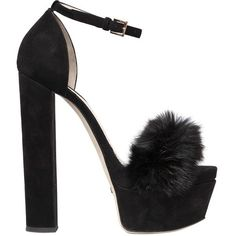 Elie Saab Women 160mm Suede & Rabbit Fur Sandals ($1,395) ❤ liked on Polyvore featuring shoes, sandals, black, black platform shoes, high heel shoes, high heeled footwear, platform shoes and high heels sandals