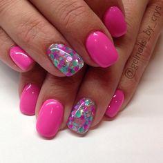 "Nails 2019 LE ""Pop Rockin' Pink"" and ""inspire me"" for . Pink Gel Nails, Shellac Nails, Gel Nail Art, Toe Nails, Colorful Nail Designs, Gel Nail Designs, Nail Techniques, Spring Nails, Pink Summer Nails"