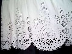 """Broderie Anglaise (""""English Embroidery"""") is a type of whitework needlework that usually features eyelets and buttonhole stitches. White Lace Fabric, Eyelet Lace, Hand Embroidery, Embroidery Designs, Christening Gowns, Heirloom Sewing, Needle Lace, Lace Making, Satin Stitch"""