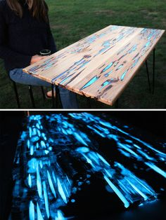 Guy Shows How To Make Glow-In-The-Dark Table With Photoluminescent Resin (8…