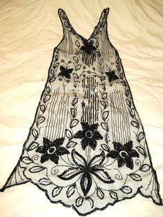 Antique Flapper Over Dress Front 1920's Beads & Sequins Florals Leaves