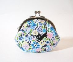 Cat Coin Purse Floral Kisslock Kawaii Blue by fieldofroses on Etsy, $16.00