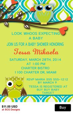 Owls Baby Shower Invitation-1 Sided