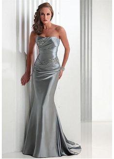 Strapless Stretch Satin Mermaid Wedding Gown STYLE NO.WWD009S7 #Dressilyme