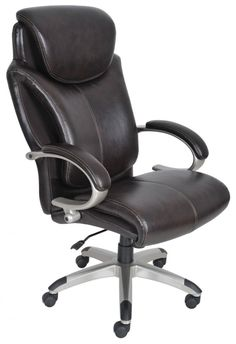 Serta Big and Tall Executive Office Chair with AIR Technology and Ergonomically Layered Body Pillows, Supports up to 350 Pounds, Bonded Leather, Roasted Chestnut Conference Room Chairs, Cheap Chairs, Executive Office Chairs, Ergonomic Office Chair, Bonded Leather, Oversized Chair, Home Office Furniture, Furniture Design, Chair Design