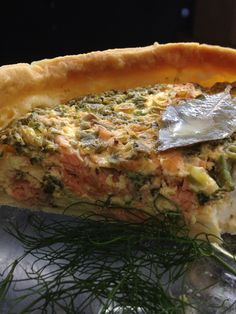 Salmon Quiche with summer herbs, lemon balm, chives, parsley. Fennel in a lemon zesty short crust