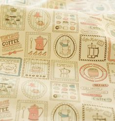 Beige Linen Fabric, Coffee Time, Linen Cotton Fabric, Victorian Antique Fabric - Fabric by Yard 1/2 Yard
