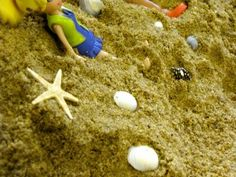 Indoor sandbox with shells/toys/shovels/etc - a great winter activity that fosters imagination for elementary aged kids - and a great last minute gift idea!