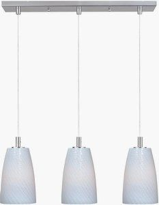 Carte - Three Light Linear Round Incandescent Pendant Satin Nickel Finish with White Ripple Glass Direct Lighting, Cool Lighting, Lighting Ideas, Track Lighting Fixtures, Light Fixtures, Kitchen Lighting, Chandelier Ceiling Lights, Pendant Lighting, Home Depot