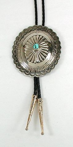 Native American Turquoise Bolo String Tie Vintage Sterling Silver