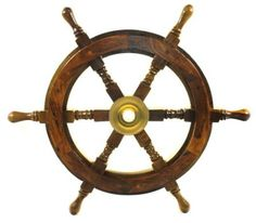 "Amazon.com: 18"" Ship Wheel Wooden: Pirate Boat Nautical Fishing: Home & Kitchen"