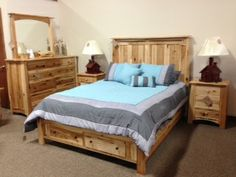 Rustic Hickory Amish Made Bed Deutsch Furniture Haus Rochester, MN