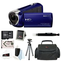 Sony HDR-CX240 HDRCX240L HDRCX240/L Full HD Handycam Camcorder (Blue) with Sony 16GB Class 10 Micro SDHC R40 Memory Card + Focus Deluxe SLR Soft Photo and Video Medium Case + NP-BX1 Wasabi Power Battery + and Accessory Kit Focus Camera http://www.amazon.com/dp/B00I5O0BB6/ref=cm_sw_r_pi_dp_OvFGub1DRAZDG