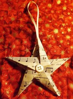 Vintage music paper and button Christmas tree decorations