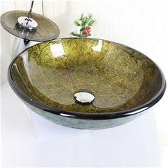 Modern Waschbecken Rund Glas Aufsatz Waschschale mit Wasserfall ... | {Waschbecken rund glas 42}