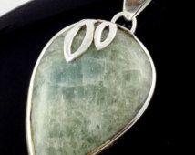 55% 925 Sterling Silver Natural Aventurine 23x30mm Pear Cabochon Gemstone Pendant,Handmade Genuine Gemstone Pendant with Loop