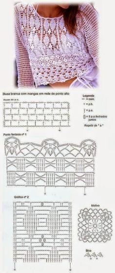 Diagramas crochet de blusa delicada corta